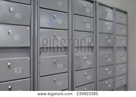 Locker Iron Mailboxes Postal With Numbering And Key  For Keep Your Information. Row, Row Of Drawers,