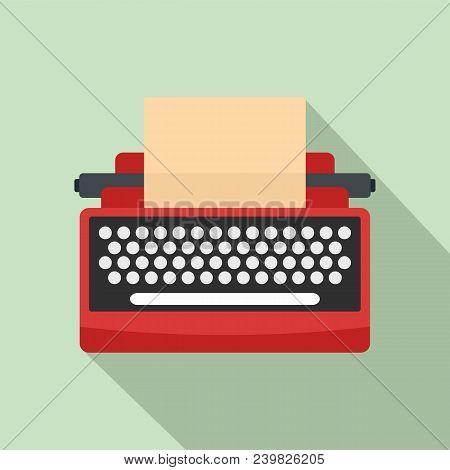 Mid Century Typewriter Icon. Flat Illustration Of Mid Century Typewriter Vector Icon For Web Design