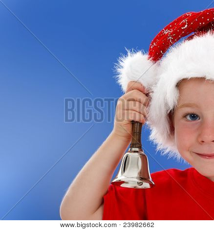 Half Face Of Bell Ringing Little Boy On Blue