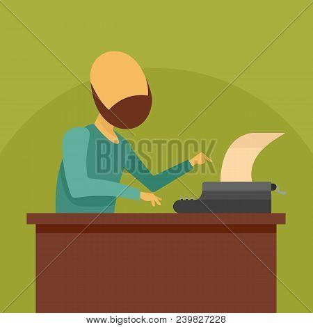 Man At Typewriter Icon. Flat Illustration Of Man At Typewriter Vector Icon For Web Design