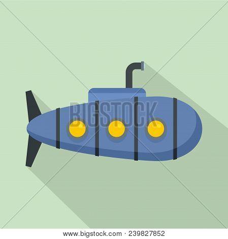 Nautical Submarine Icon. Flat Illustration Of Nautical Submarine Vector Icon For Web Design