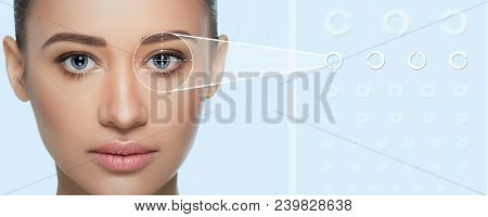 Woman Checks Her Vision At The Digital Holographic Eye Test On The Background. Virtual Sensors For C
