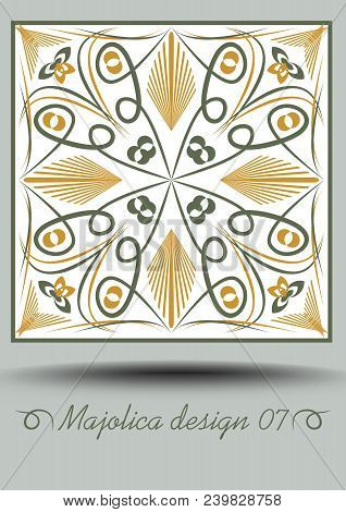 Faience ceramic tile in nostalgic ocher and olive green design with white glaze. Classic ceramic majolica. Traditional vintage spanish pottery product with multicolored geometric ornament. Vector EPS 10 poster
