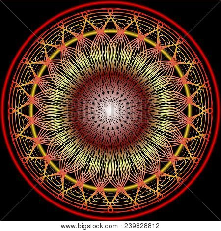 Mandala In Warm Colors For Vitality Obtaining. Filigree Embroidery Patterns In Yellow, Orange And Re
