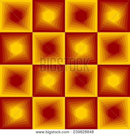 Red And Yellow Abstract Background, Checker Patterns With Blending Hexagon Texture, Vector Eps 10
