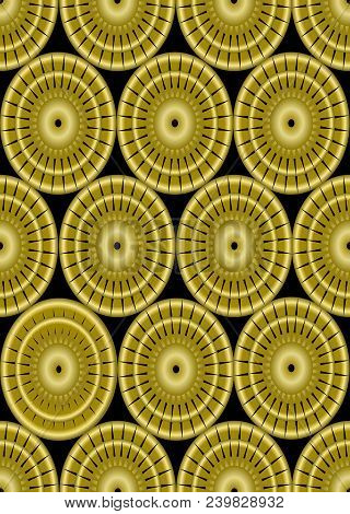 Classic Gold Patterns On Black Background, Seamless Ornament In Damask Style, Golden Circle Shape On