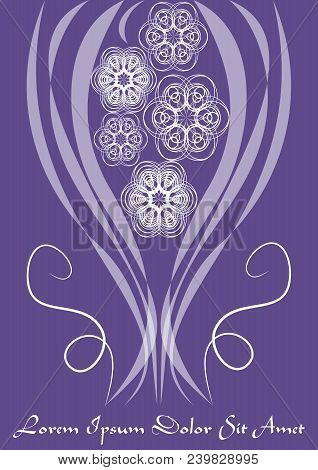 Ultraviolet Template With Monoline White Lace Patterns In Vintage Style, Trendy Purple Color Combine