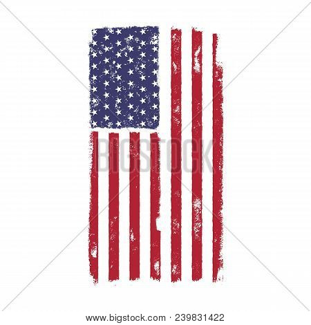 Usa American National Flag In Disstressed Style. Vintage Design. Perfect For T-shirt, Poster, Cards.