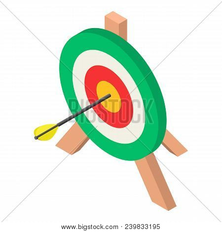 Colorful Archery Target Icon. Isometric Of Colorful Archery Target Vector Icon For Web Design Isolat