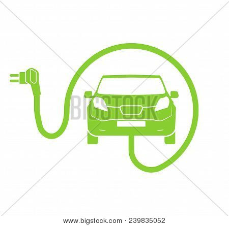 Electrical Charging Station Symbol. Electric Car Charging Icon Isolated. Electric Vehicle Green Elec