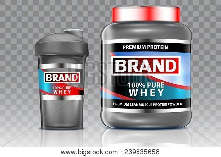 Whey Protein And Sports Cocktail Shaker Mock Up Set. Vector Realistic Illustration Isolated On Trans