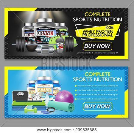 Complete Sports Nutrition Vector Horizontal Banner Set. Sports Nutrition Supplements Whey Protein An