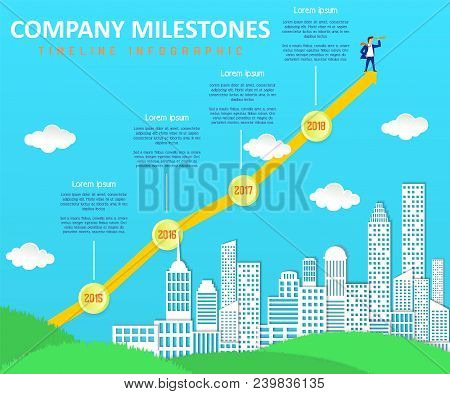 Company Milestones Vector Timeline Infographic. Company Event Chronology Timeline Template With Pape