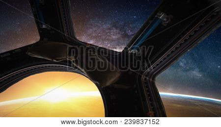 Landscape With Milky Way Galaxy. Sunrise, Earth And Spacecraft View From Space With Milky Way Galaxy