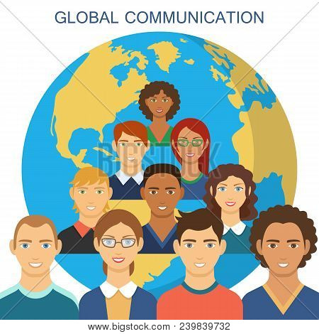 Global Communication Flat Design. Poster Of People Connected To Global Communication On World Map Da
