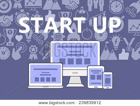 Start Up Poster Of Outline Icons Set. Poster With Start Up Business Icons Suitable For Infographics