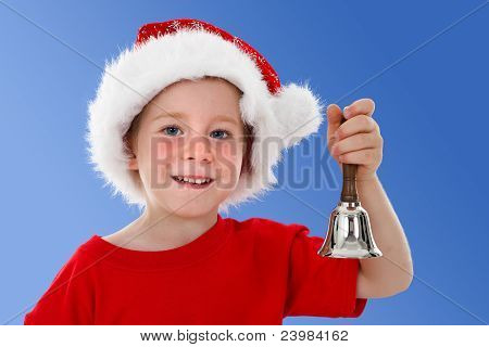 Happy Child Ringing Bell On Blue