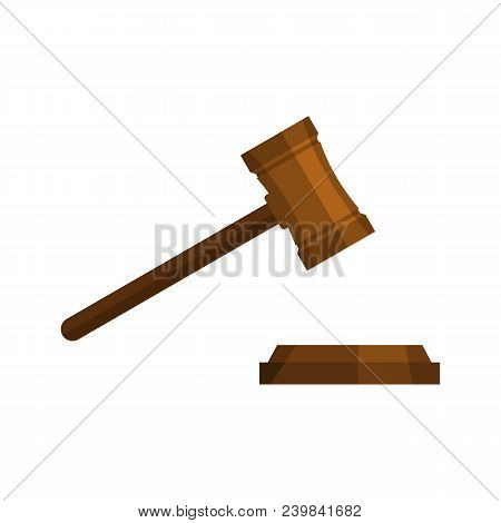 Legal Gavel Icon. Flat Illustration Of Legal Gavel Vector Icon For Web