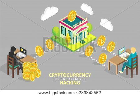 Cryptocurrency Stock Exchange Hacking Flowchart. Vector Isometric Illustration. Hack Attacks On Cryp