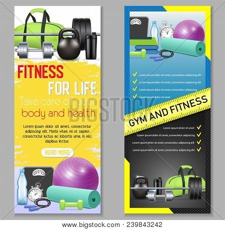 Vector Fitness Vertical Banner Set. Health And Fitness, Fitness For Life Concept Design Elements, We