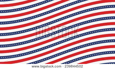 Us American Flag Background Horizontal Web Banner. Wave Composition Blue, Red And White. Vector Illu