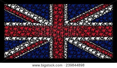 United Kingdom State Flag Mosaic Constructed Of Airplane Intercepter Pictograms On A Dark Background