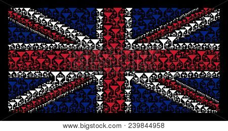 British Flag Concept Done Of Alcohol Glass Icons On A Dark Background. Vector Alcohol Glass Pictogra