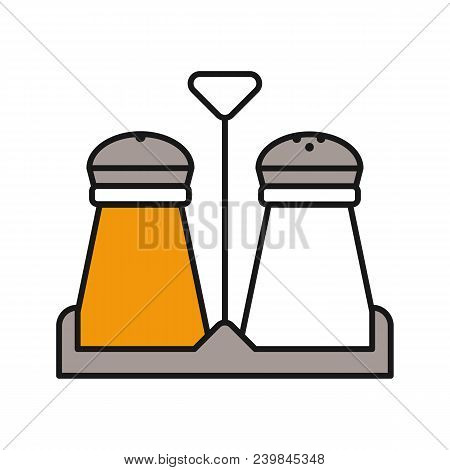 Salt And Pepper Shakers Color Icon. Spice. Isolated Vector Illustration