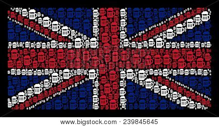 English Flag Collage Made Of Beer Glass Design Elements On A Dark Background. Vector Beer Glass Desi