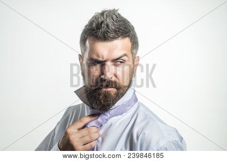 Man Getting Ready To Dress Business Meeting. Morning Dress Up. Confident Businessman In Shirt, Dress