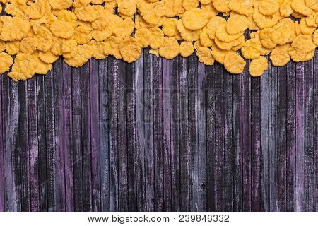 Flakes On An Ironic Background. Multicolored Background. Useful Zatrak. Yellow Flakes Scattered On A