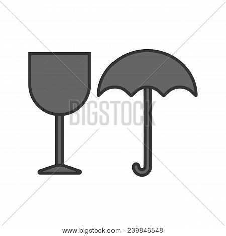 Fragile Color Icon. Keep Dry. Handle With Care. Isolated Vector Illustration