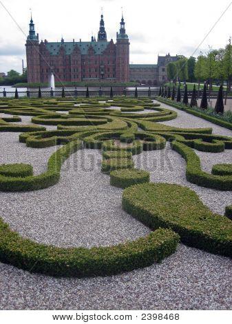 Ornate Garden And Castle In Denmark
