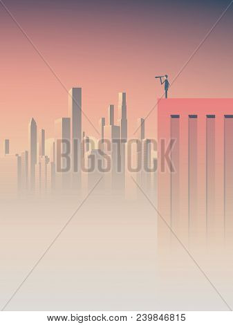 Looking For Job, New Business Opportunities, Business Vision Vector Concept. Businessman Standing On