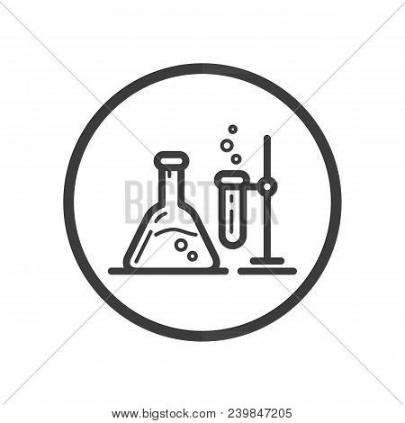 Black And White Line Art Icon Of Chemical Laboratory In A Round Frame