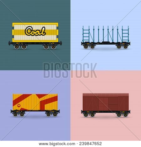 Covered Train And Railway Wagon For Coal, Container On Railroad Platform, Platform For Transportatio
