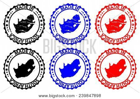 Made In South Africa - Rubber Stamp - Vector, Republic Of South Africa (rsa) Map Pattern - Black, Bl