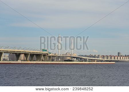Western high-speed diameter and Gulf of Finland on north western outskirts of St. Petersburg at winter, Russia. poster