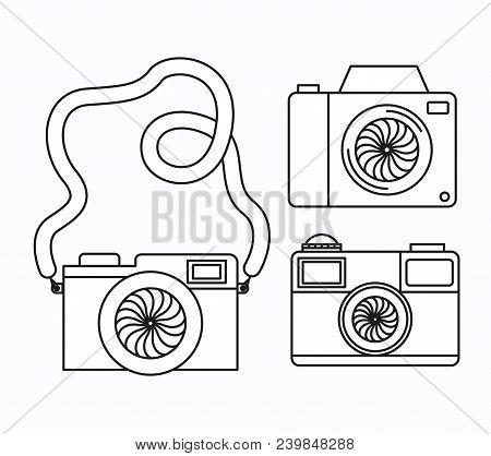 Set Photographic Cameras Icons Vector Illustration Design