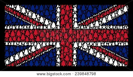 Great Britain Flag Pattern Created Of Fir-tree Elements On A Dark Background. Vector Fir-tree Design
