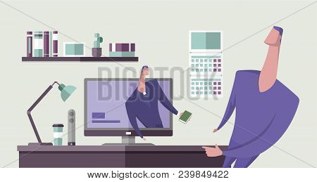 Man With The Bible Preaching From Computer Monitor To Another Man In Office Interior. Religion Onlin