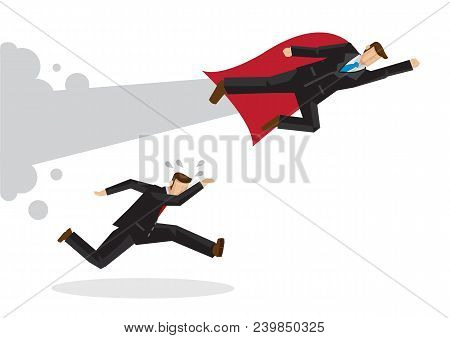 Super Businessman Flying Past A Running Businessman. Concept Of The Speed And Achievement Of Super H