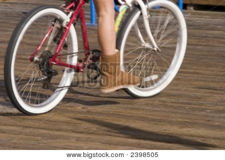 Girl And Her Beach Bike