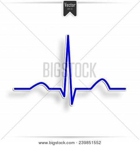 Heart Beat Electrocardiogram Pulse On Blue Medical Chart Background. Vector Blue Heartbeat Life Line