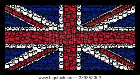 British State Flag Pattern Designed Of Vial Elements On A Dark Background. Vector Vial Pictograms Ar