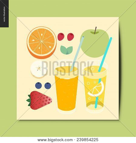 Simple Things - Fruit And Berries - Flat Cartoon Vector Illustration Of Breakfast Meal, Fruit, Berri