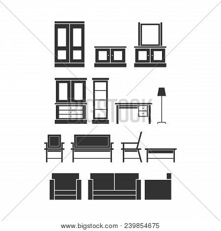Home Furniture Icon Set. Furniture Illustration. Vector Template Ready For Use
