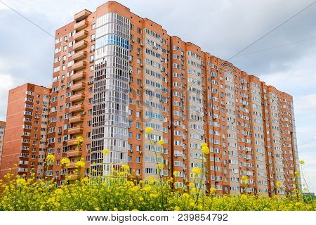 New Storey Residential Building On The City Street. Residential Houses.