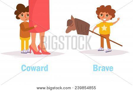 Coward Brave Opposite Antonyms Vector. Cartoon. Isolated Art On White Background. Flat