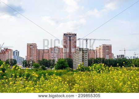 New Storey Residential Building On The City Street. Residential Houses